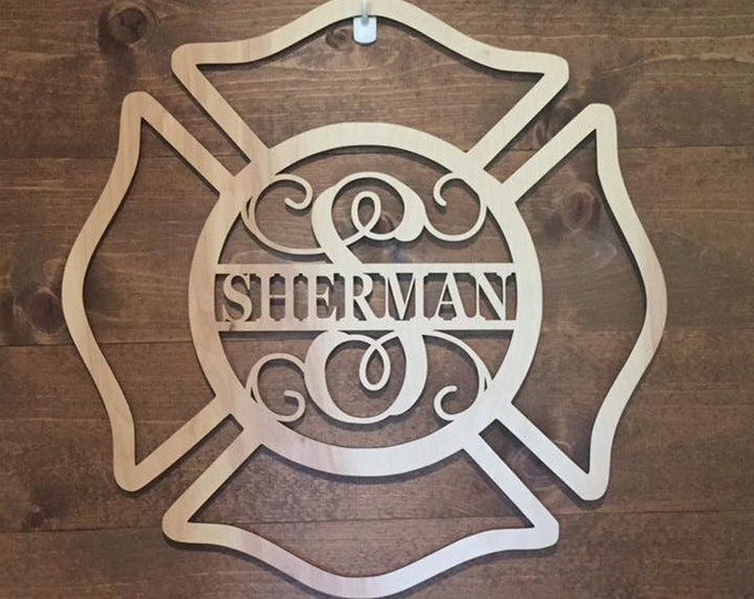 "18"" Wood Maltese Cross Firefighter Fireman Monogram Laser Cutout Shape Unfinished"