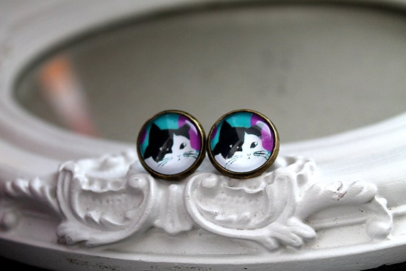 Cat earrings sweet lolita feminine black and white kitty kitten kitteh post stud