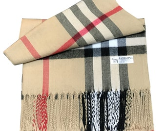 Ladies  Soft Check Style Pashmina warm wool large and luxury Shawl For Day To Evening Occasions