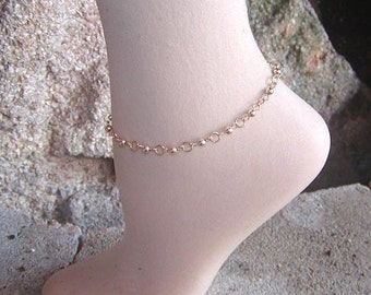 Ankle Bracelet - Anklet - Smooth Links Wire Bead Ankle Bracelet - Gold Ankle Bracelet - Sexy Anklet - Beaded Ankle Bracelet - Beaded Anklet