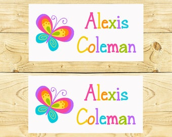 40 Waterproof Baby Bottle Labels - Dishwasher Safe - Sippy Cup Labels - Daycare School Name Labels - White Butterfly 002