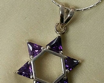 Purple Amethyst Star of David Necklace, Sterling Magen David with Purple triangle stones - pictured is size large