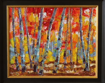 Expression of Autumn  16x20 Original Oil Painting Impressionism Fall Autumn Aspens Birch trees by Carl Bork