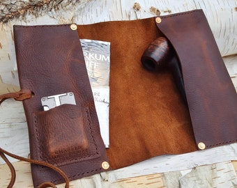 THE GARBO     ~     leather pipe cigar case pouch roll holder