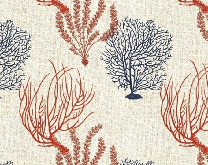 Half Yard Hidden Cove - Coral in Cream - Sea Animals Cotton Quilt Fabric - by Sue Schlabach for Windham Fabrics - 40432-4 (W3029)