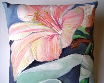 Amaryllis Abloom Pillow 8x8 Hand Painted Original Pink Flower Drama Home Decor Winter Bloom Unique Gift Pillow