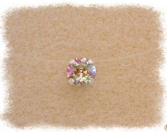 Necklace Luminous Green Ras thread Nylon & neck Strass Swarovski Crystal