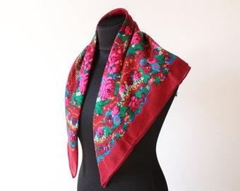 Vintage shawl.Russian Shawl.Floral scarf.Scarf.Wedding shawl.Vintage shawl.Burgundy Flower Shawl.Floral shawl.Russian scarf shawl.