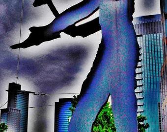 Hammering man (Frankfurt), canvas, aluminium, Forex