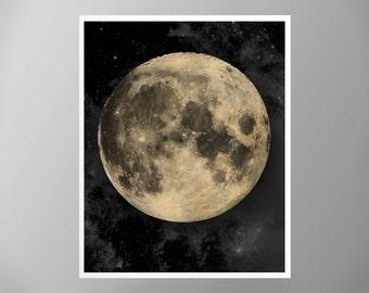 Lunar Moon Poster, Outer Space Art Print, Galaxy Nebula Star Moon Print, Home Decor, Moon Print, Moon Poster, Full Moon Poster, Giant Moon