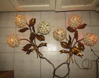 Vintage Wall HYDRANGEA  Bouquet Light Sconce PAIR
