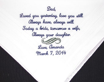 Wedding handkerchief embroidered for the Father of the Bride