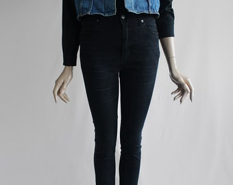90's Vintage Sturdy Blue Denim Sleeveless Jean Vest for Women