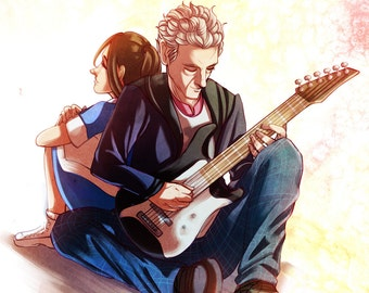 A Girl, A Boy, and His Guitar - Doctor Who Art Print