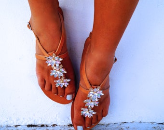 SALE 40%!!! Genuine leather sandals decorated with Swarovski crystals