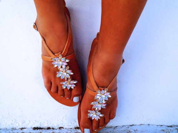 40 leather Genuine sandals Swarovski with SALE decorated crystals zwdqEyA