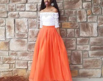"Silky Chiffon Maxi Skirt ""Laura"" - XS - 6XL Plus Size, Any Height"