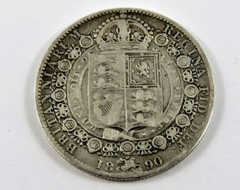 Great Britain 1890 Sterling Silver Half Crown Coin.