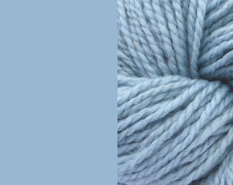 Wool yarn, light blue, bulky 2-ply worsted pure wool knitting yarn 50g/65m cake