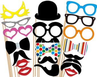 Wedding 20 Piece Photo Booth Props - Birthday Photobooth Party Props - Photo props
