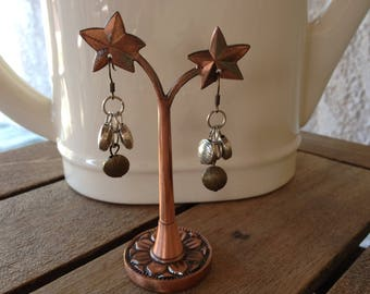 Silver and bronze cluster earrings