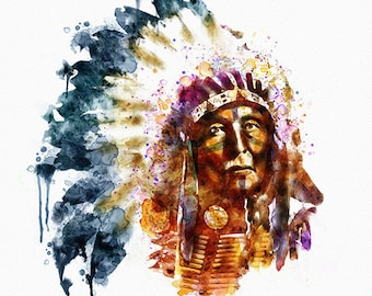 Native American Watercolor Digital painting Wall art Tribe Feather headdress Native American art Illustration Indian chief Instant download