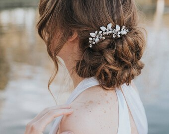 """Wedding Hair Accessories, Bridal Comb, Bridal Headpiece ~ """"Ariana"""" Small Leaf Wedding Hair Comb (Silver, Gold or Rose Gold)"""
