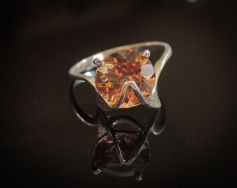Brazilian Yellow Topaz Ring - Genuine Imperial Topaz Ring - Sterling Silver Topaz Ring - Amber Topaz Ring