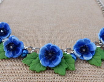 Anemone necklace blue flower set - gifts for her