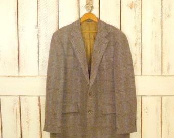 Mens vintage wool tweed blazer/tan brown woven jacket/vintage wool sportscoat