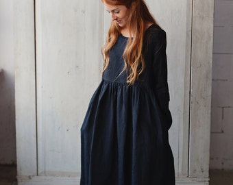 Linen Dress, Black Linen Dress, Linen Maxi Dress, Long Sleeve Dress, Boho Clothing, Womens Linen Dress, Oversized Dress / Black Smock LS