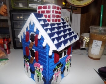 Snow People Birdhouse Tissue Topper
