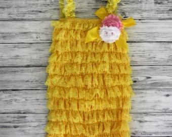 Girls Petti Romper- Yellow Petti Romper -Petti Romper - Lace Romper -Baby Romper -Romper - Ruffle Romper - Petti Lace Romper - Baby Outfit