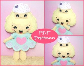 Felt Doll Pattern, Cupcake Girl, Sewing Pattern, PDF Pattern, Felt Cupcake, Kawaii Cupcake, Felt Tutorial, Kawaii Doll, Doll Tutorial,