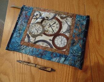 Quilted Art Journal Clocks Art Notebook Refillable Travel Journal Diary Handmade Organizer Brown Blue