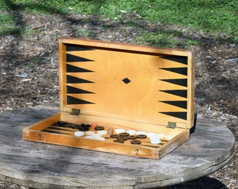 Vintage backgammon table, Wooden backgammon game, Backgammon board game, Old wooden white and black game, Home decor, Gift idea