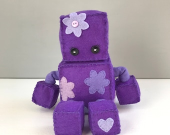 Felt robot softie - purple with appliqued flowers