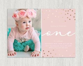 First Birthday Photo Invitation | Photo Birthday Invitation | Rose Gold and Blush | Customized Digital File | Any Age (5x7)