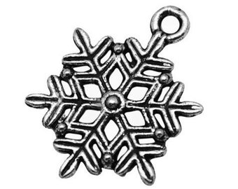 Antique Silver Snowflake Charms | Frozen Snowflake Winter Pendants 22x19mm [10 pieces] -- Lead, Nickel & Cadmium free 12765.C27