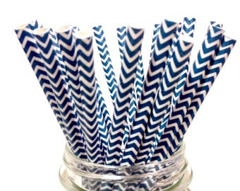 25 Midnight Blue Chevron paper straws // baby bridal shower decorations /candy dessert buffet table / wedding /First birthday/new year party