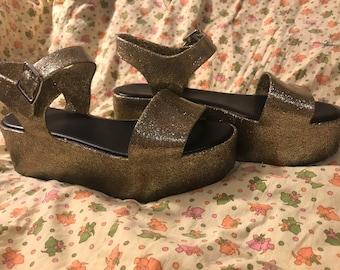 Gold glitter plastic gold platform sandals
