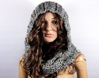Ready to ship - Hooded Scarf, Acrylic Scarf, Chunky hooded scarf, Hooded infinite scarf by LoveKnittings