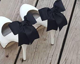 Grosgrain Bow Shoe Clips,  Black Shoe Clips,  Dress Shoe Clips, Clip ons, shoe clips ins, clips for pumps, heels, wedding shoes, bridal shoe