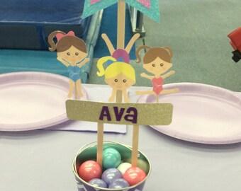 Gymnastic Themed Birthday Centerpiece, Girl Birthday, Kids Birthday