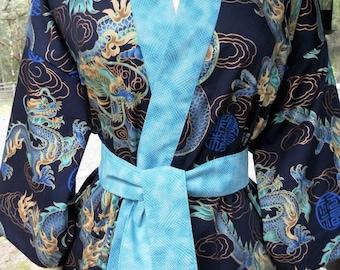 Haori Happi Coat Hip Length Kimono Jacket with pockets DRAGON indigo Christmas Birthday Fathers Day Mothers Day