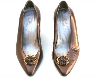 Vintage Connie Dk. Gold Metallic Leather Jeweled Classic Dress Heels Shoes Sz 7.5