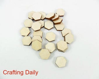 Wood Hexagons Stud Earring Blanks 9mm Laser Cut Tiles Wood Jewelry Shapes - 25 Pieces