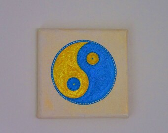 Image, mural, yin and yang, yellow, blue, hand painted, acrylic, canvas, symbol, polarity, yoga, Buddha, meditation, balance, Tao, OM,