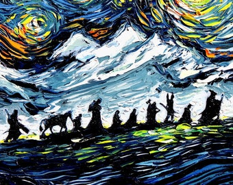 Lord of the Rings Art - LOTR van Gogh Never Saw The Fellowship - Giclee print by Aja 8x12, 10x15, 20x30, 24x36 choose size