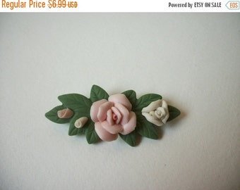 ON SALE Vintage Floral Fine Porcelain Pin 981